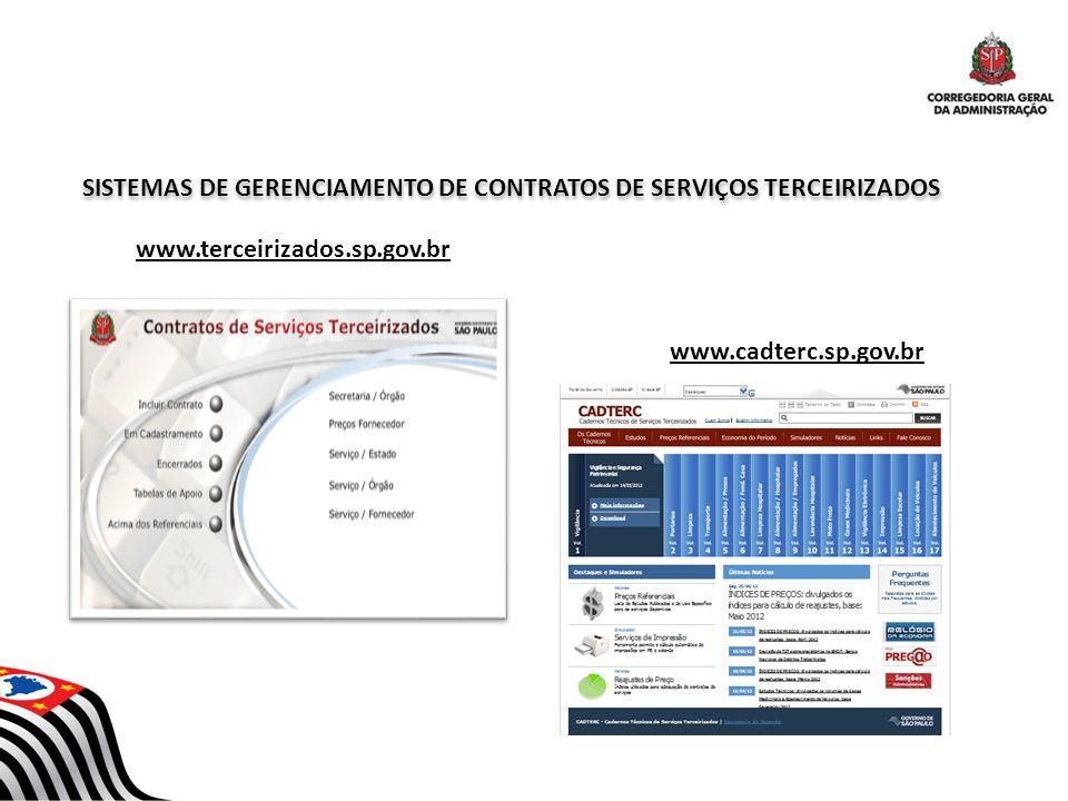 SISTEMAS DE GERENCIAMENTO DE CONTRATOS DE SERVIÇOS TERCEIRIZADOS www.terceirizados.sp.gov.br www.cadterc.sp.gov.br