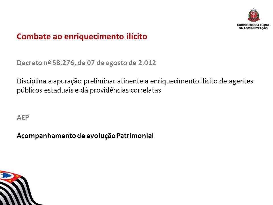 Combate ao enriquecimento ilícito Decreto nº 58.276, de 07 de agosto de 2.012 Disciplina a apuração preliminar atinente a enriquecimento ilícito de ag