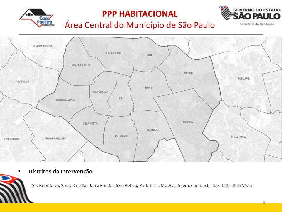 Distritos da Intervenção Sé, República, Santa Cecília, Barra Funda, Bom Retiro, Pari, Brás, Mooca, Belém, Cambuci, Liberdade, Bela Vista PPP HABITACIO