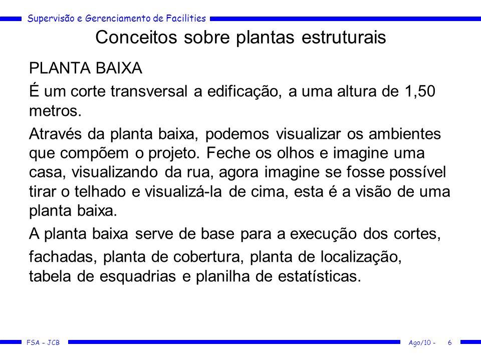 Supervisão e Gerenciamento de Facilities FSA – JCB Conceitos sobre plantas estruturais Ago/10 -7