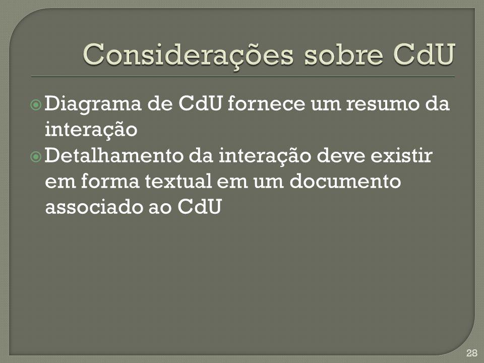 Diagrama de CdU fornece um resumo da interação Detalhamento da interação deve existir em forma textual em um documento associado ao CdU 28