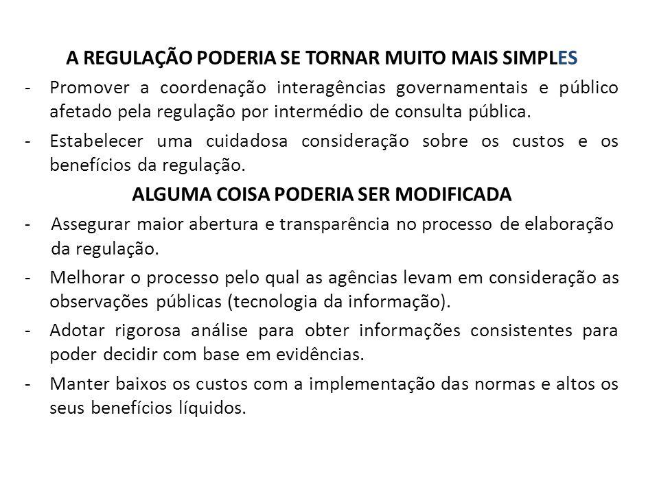 A REGULAÇÃO PODERIA SE TORNAR MUITO MAIS SIMPLES -Promover a coordenação interagências governamentais e público afetado pela regulação por intermédio