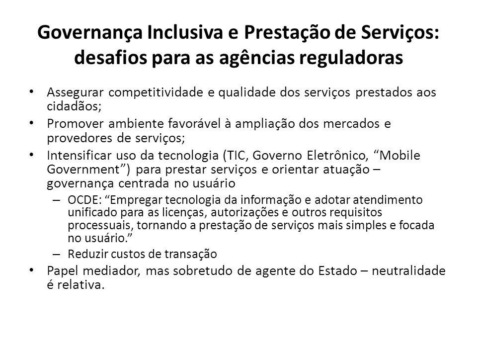 Governança Inclusiva e Prestação de Serviços: desafios para as agências reguladoras Assegurar competitividade e qualidade dos serviços prestados aos c