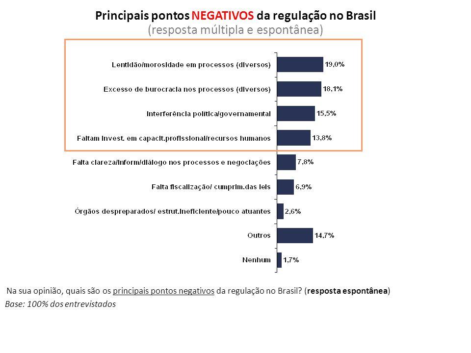 Base: 100% dos entrevistados Na sua opinião, quais são os principais pontos negativos da regulação no Brasil? (resposta espontânea) Principais pontos