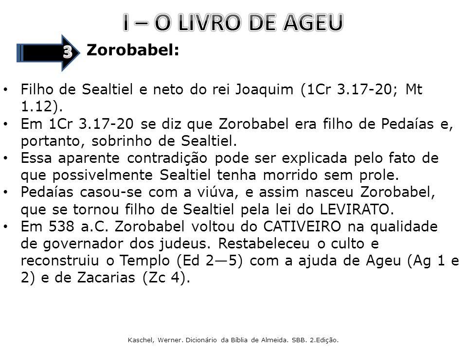 Zorobabel: Filho de Sealtiel e neto do rei Joaquim (1Cr 3.17-20; Mt 1.12).