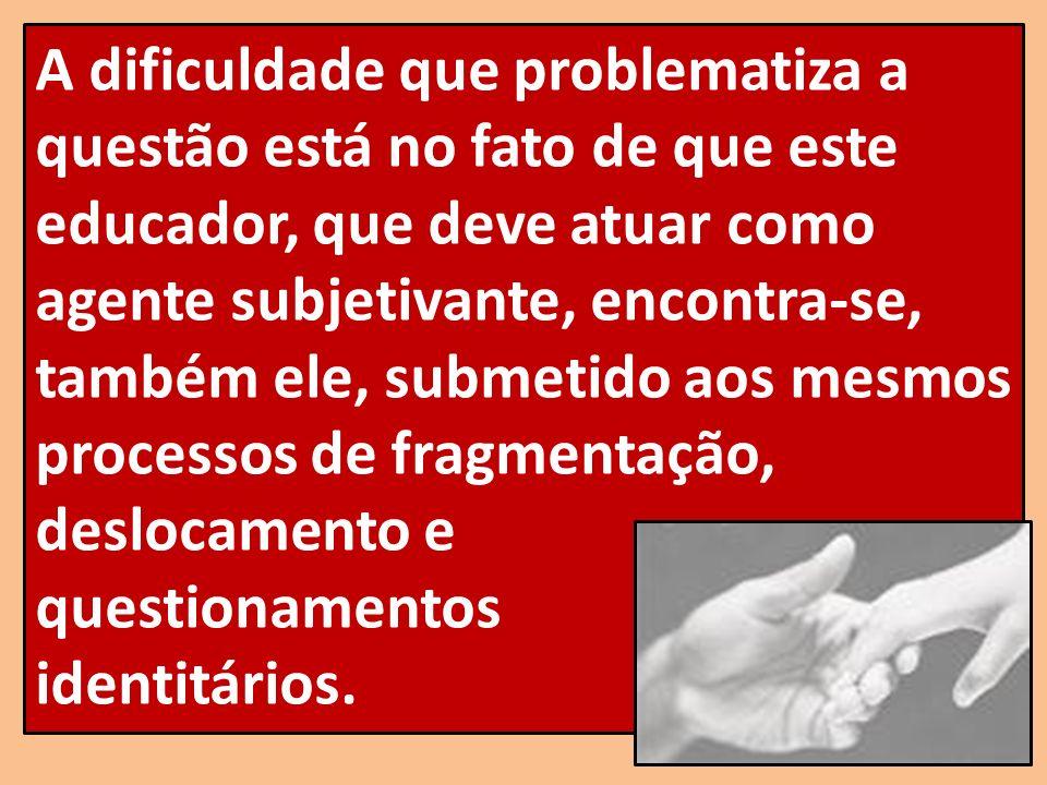 A dificuldade que problematiza a questão está no fato de que este educador, que deve atuar como agente subjetivante, encontra-se, também ele, submetid