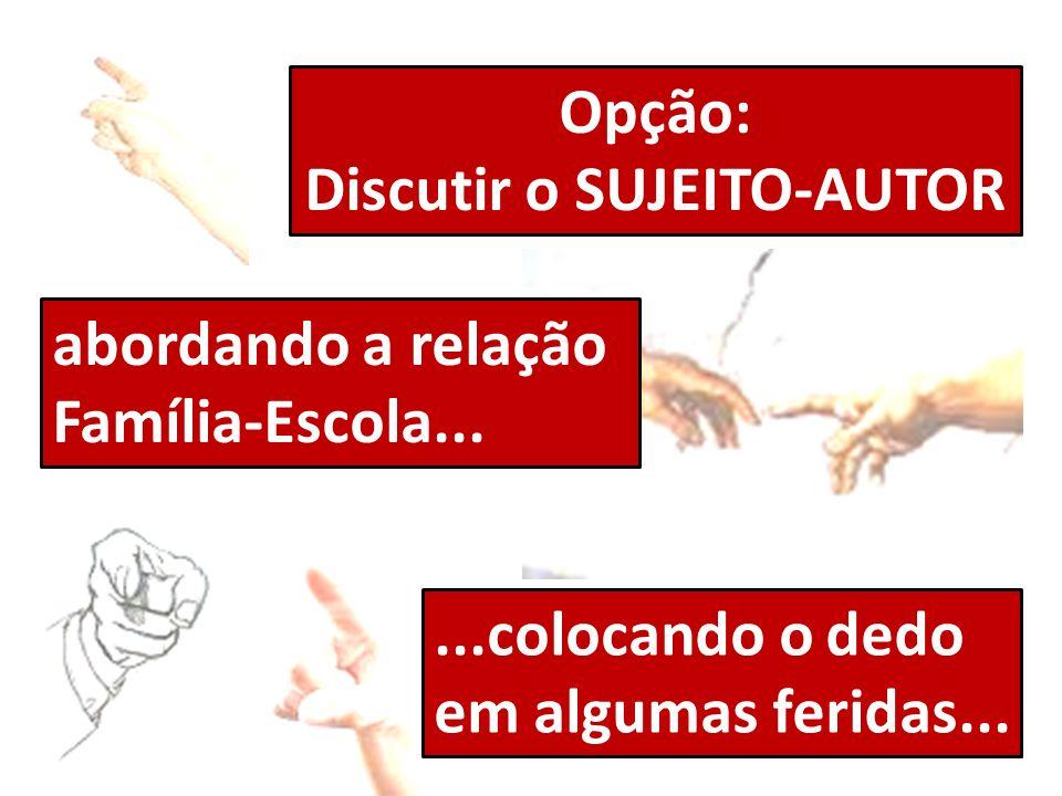Opção: Discutir o SUJEITO-AUTOR abordando a relação Família-Escola......colocando o dedo em algumas feridas...