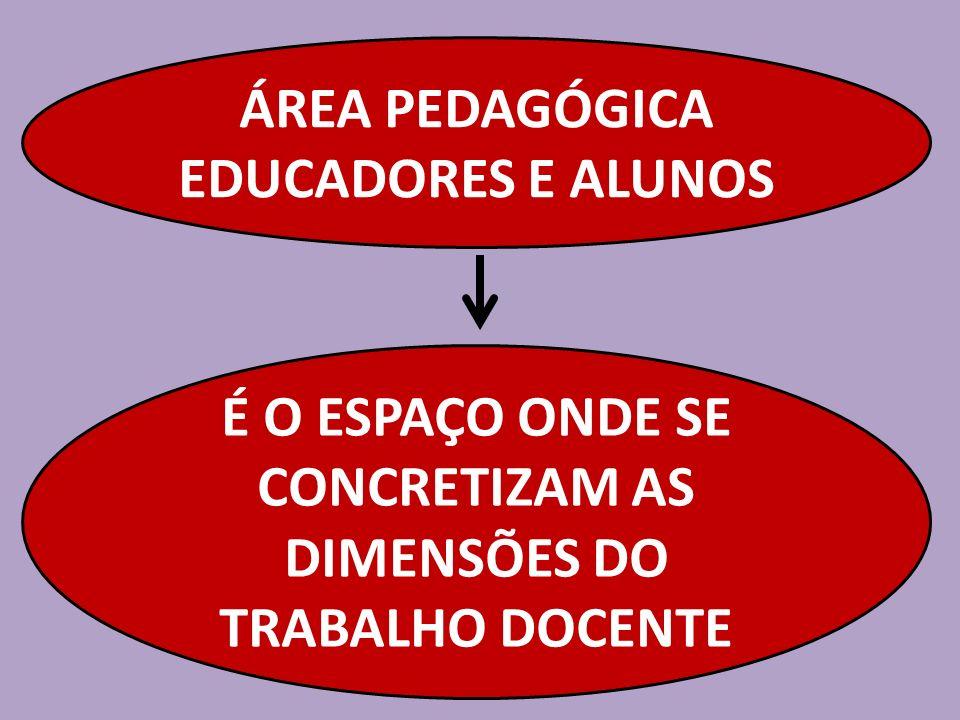 ÁREA PEDAGÓGICA EDUCADORES E ALUNOS É O ESPAÇO ONDE SE CONCRETIZAM AS DIMENSÕES DO TRABALHO DOCENTE