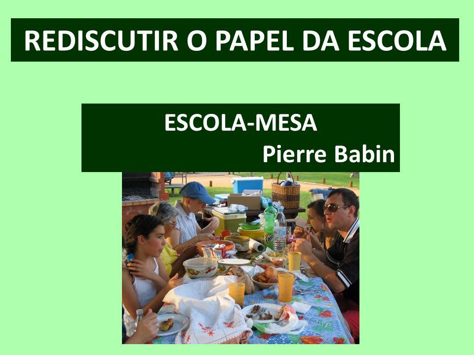 REDISCUTIR O PAPEL DA ESCOLA ESCOLA-MESA Pierre Babin