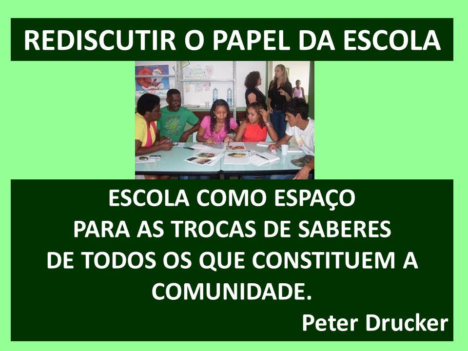REDISCUTIR O PAPEL DA ESCOLA ESCOLA COMO ESPAÇO PARA AS TROCAS DE SABERES DE TODOS OS QUE CONSTITUEM A COMUNIDADE. Peter Drucker
