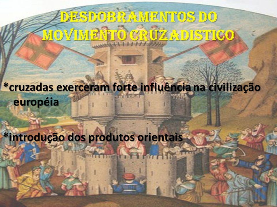 DESDOBRAMENTOS DO MOVIMENTO CRUZADISTICO *cruzadas exerceram forte influência na civilização européia *introdução dos produtos orientais
