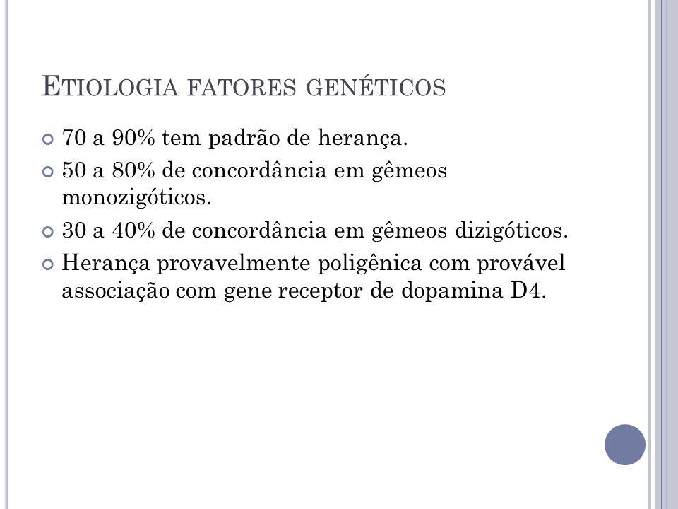 E TIOLOGIA FATORES GENÉTICOS 70 a 90% tem padrão de herança. 50 a 80% de concordância em gêmeos monozigóticos. 30 a 40% de concordância em gêmeos dizi