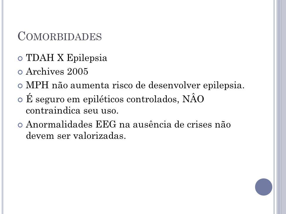 C OMORBIDADES TDAH X Epilepsia Archives 2005 MPH não aumenta risco de desenvolver epilepsia. É seguro em epiléticos controlados, NÂO contraindica seu
