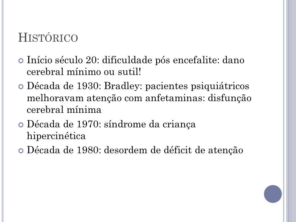 H ISTÓRICO Início século 20: dificuldade pós encefalite: dano cerebral mínimo ou sutil! Década de 1930: Bradley: pacientes psiquiátricos melhoravam at