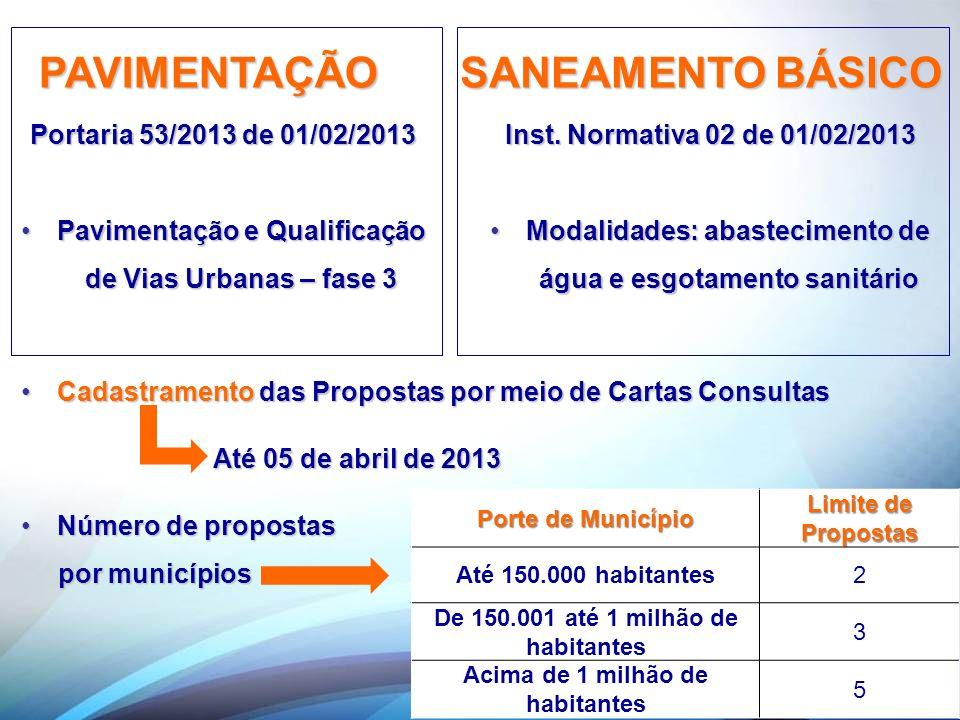 PAVIMENTAÇÃO Portaria 53/2013 de 01/02/2013 Pavimentação e Qualificação de Vias Urbanas – fase 3Pavimentação e Qualificação de Vias Urbanas – fase 3 P