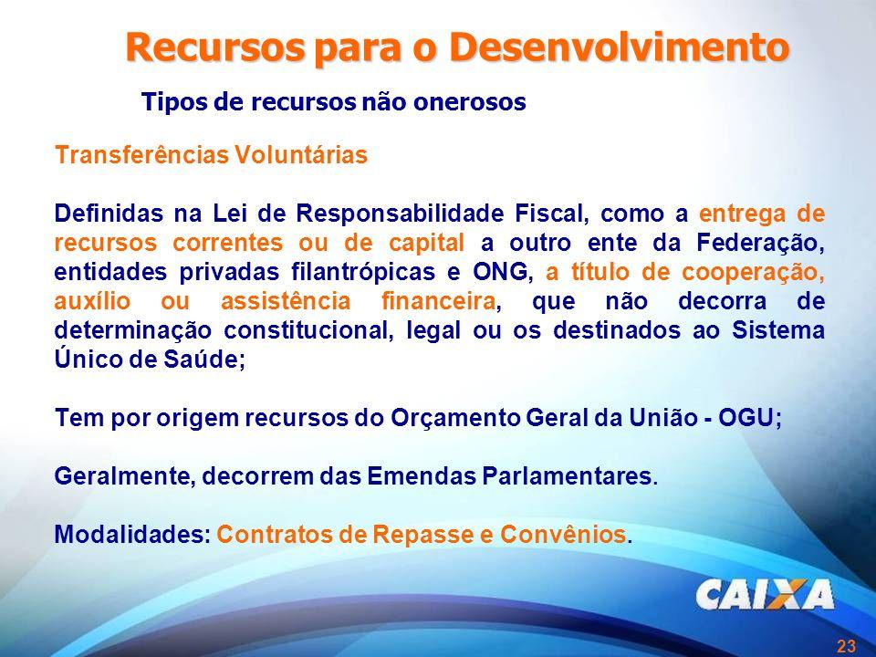 23 Transferências Voluntárias Definidas na Lei de Responsabilidade Fiscal, como a entrega de recursos correntes ou de capital a outro ente da Federaçã