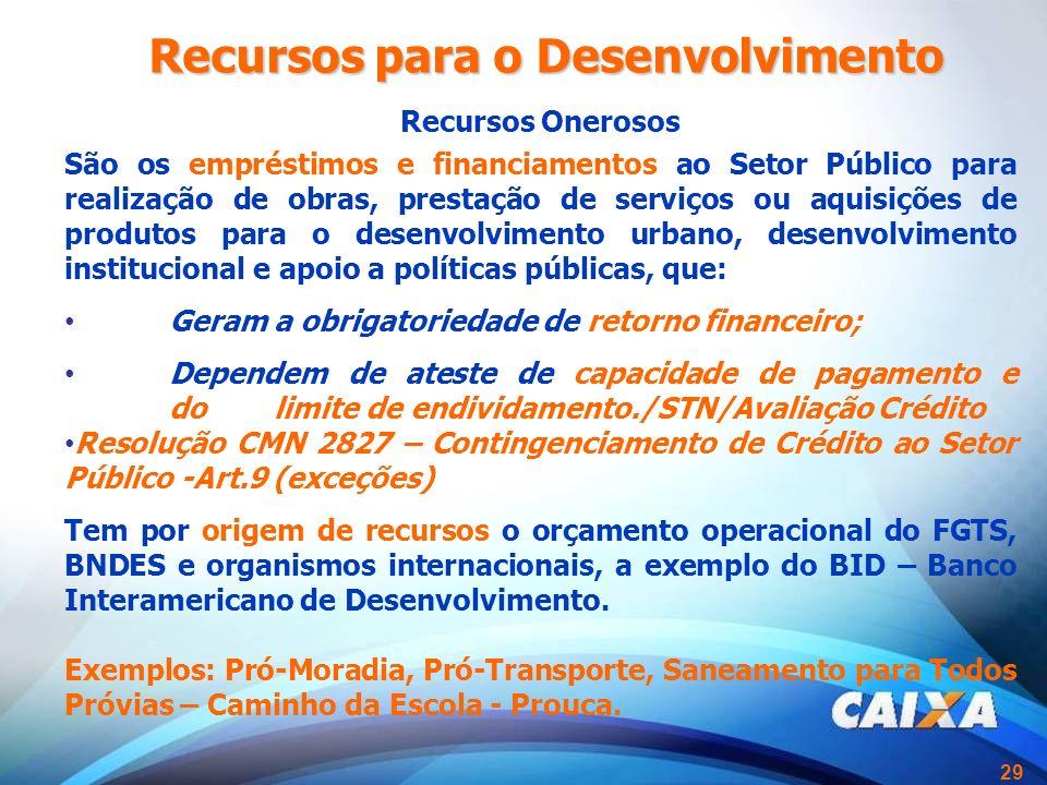 29 Recursos Onerosos São os empréstimos e financiamentos ao Setor Público para realização de obras, prestação de serviços ou aquisições de produtos pa