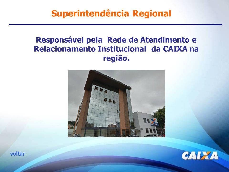 Superintendência Regional Responsável pela Rede de Atendimento e Relacionamento Institucional da CAIXA na região. voltar