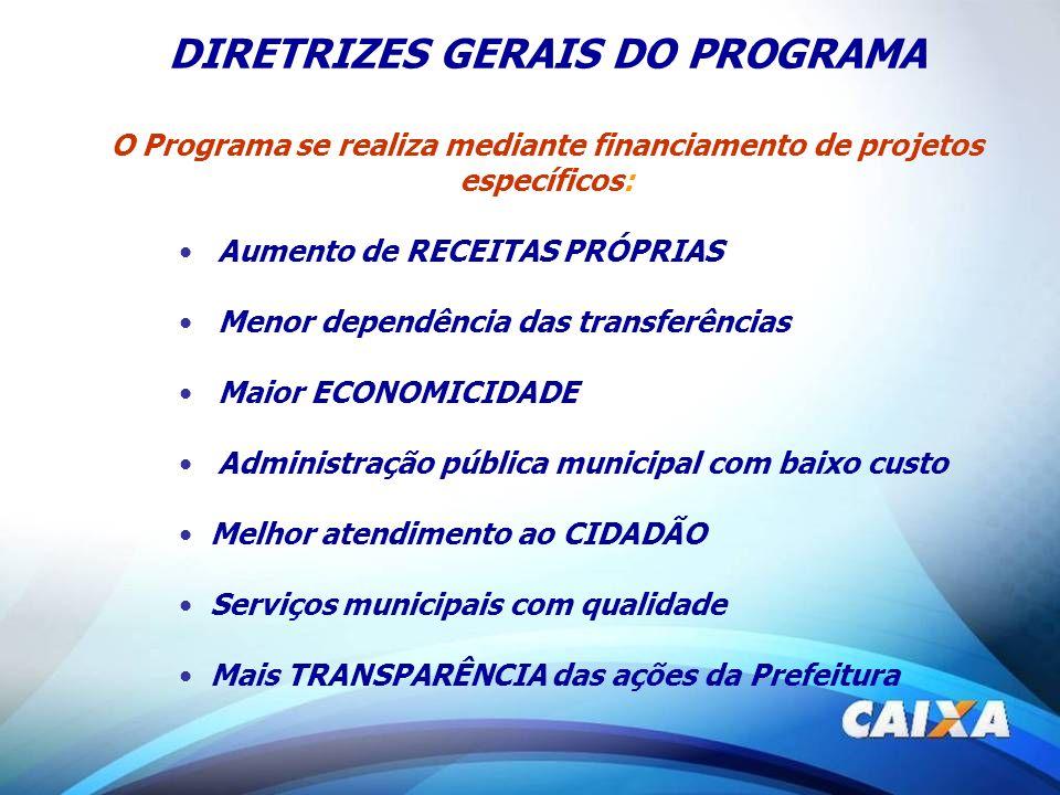 DIRETRIZES GERAIS DO PROGRAMA O Programa se realiza mediante financiamento de projetos específicos: Aumento de RECEITAS PRÓPRIAS Menor dependência das