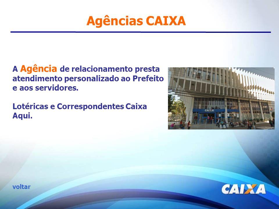 Agências CAIXA A Agência de relacionamento presta atendimento personalizado ao Prefeito e aos servidores. Lotéricas e Correspondentes Caixa Aqui. volt