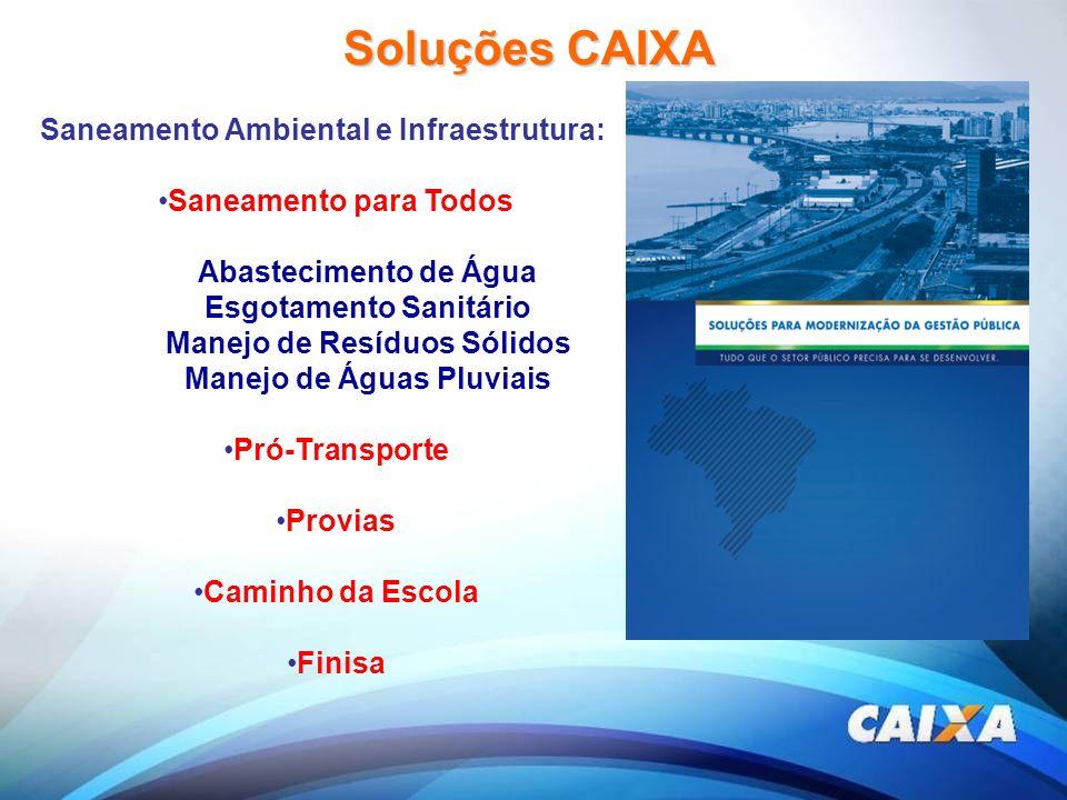 Soluções CAIXA Saneamento Ambiental e Infraestrutura: Saneamento para Todos Abastecimento de Água Esgotamento Sanitário Manejo de Resíduos Sólidos Man