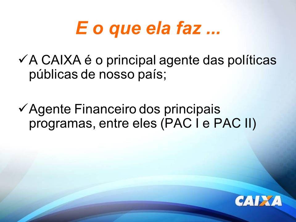 E o que ela faz... A CAIXA é o principal agente das políticas públicas de nosso país; Agente Financeiro dos principais programas, entre eles (PAC I e