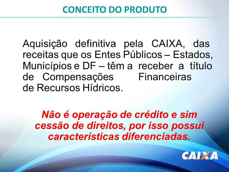 Aquisição definitiva pela CAIXA, das receitas que os Entes Públicos – Estados, Municípios e DF – têm a receber a título de Compensações Financeiras de
