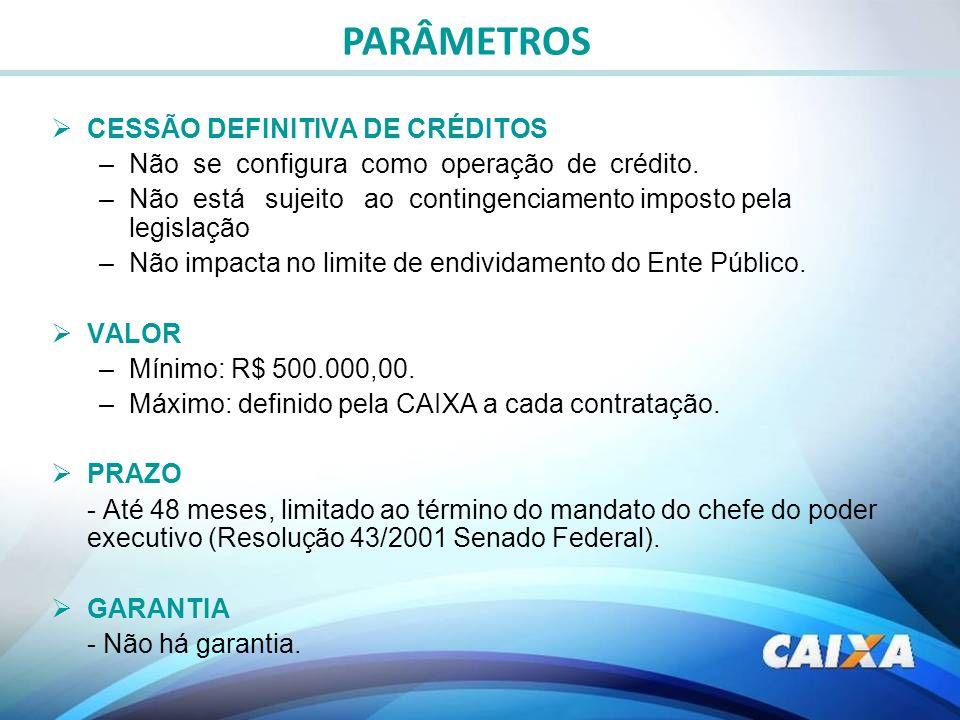 CESSÃO DEFINITIVA DE CRÉDITOS –Não se configura como operação de crédito. –Não está sujeito ao contingenciamento imposto pela legislação –Não impacta