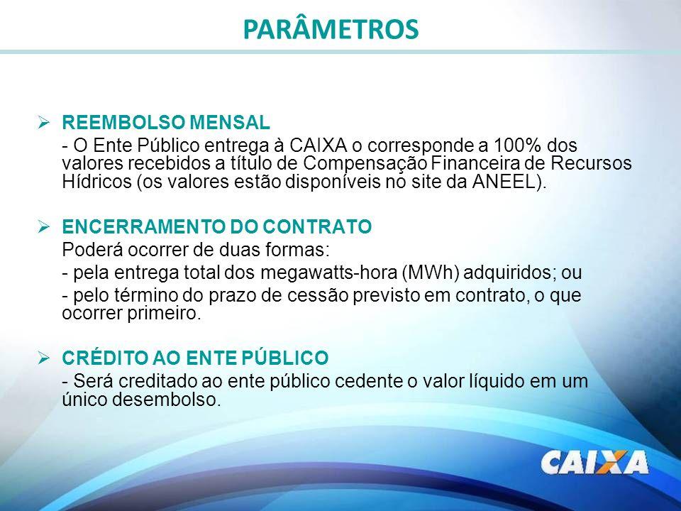 REEMBOLSO MENSAL - O Ente Público entrega à CAIXA o corresponde a 100% dos valores recebidos a título de Compensação Financeira de Recursos Hídricos (