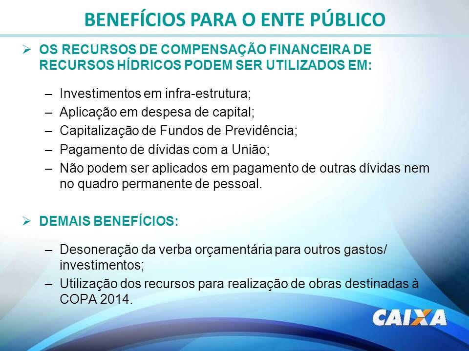 OS RECURSOS DE COMPENSAÇÃO FINANCEIRA DE RECURSOS HÍDRICOS PODEM SER UTILIZADOS EM: –Investimentos em infra-estrutura; –Aplicação em despesa de capita