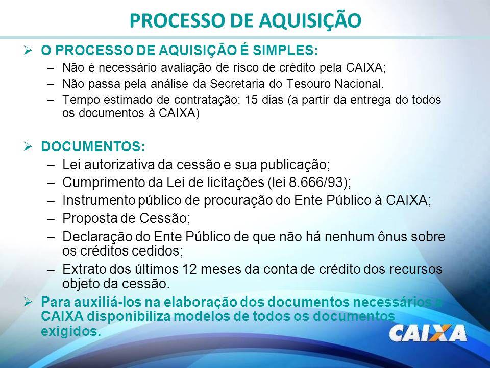 O PROCESSO DE AQUISIÇÃO É SIMPLES: –Não é necessário avaliação de risco de crédito pela CAIXA; –Não passa pela análise da Secretaria do Tesouro Nacion