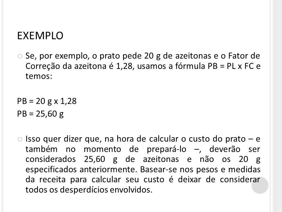 EXEMPLO Se, por exemplo, o prato pede 20 g de azeitonas e o Fator de Correção da azeitona é 1,28, usamos a fórmula PB = PL x FC e temos: PB = 20 g x 1