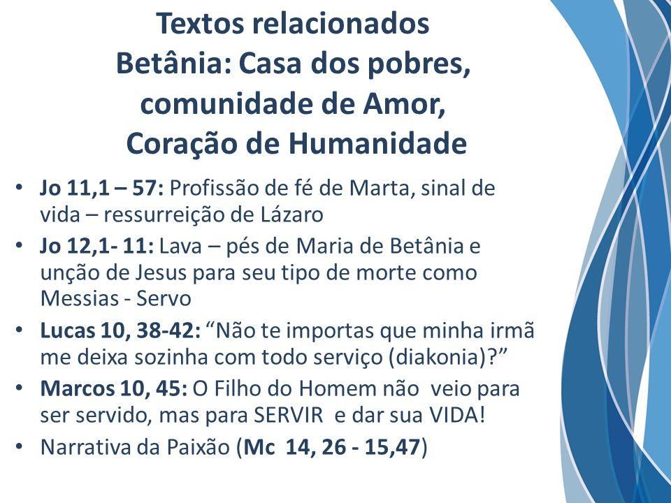 Textos relacionados Betânia: Casa dos pobres, comunidade de Amor, Coração de Humanidade Jo 11,1 – 57: Profissão de fé de Marta, sinal de vida – ressur