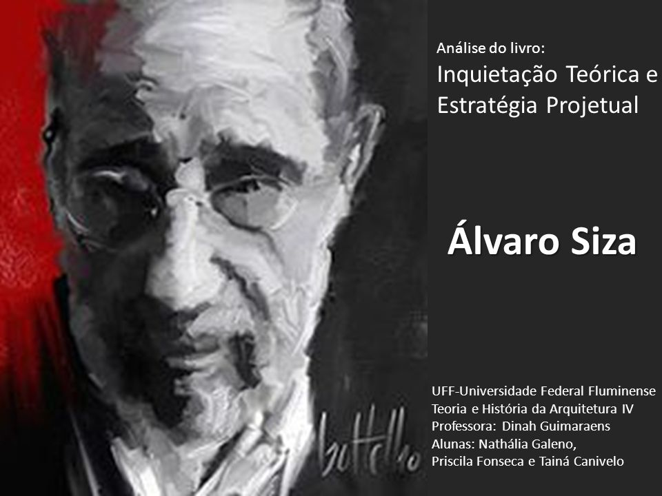 Álvaro Siza Análise do livro: Inquietação Teórica e Estratégia Projetual UFF-Universidade Federal Fluminense Teoria e História da Arquitetura IV Profe