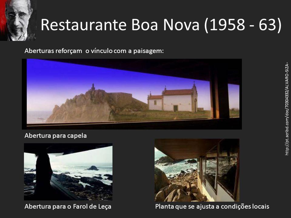 Restaurante Boa Nova (1958 - 63) http://pt.scribd.com/doc/70304332/ALVARO-SIZA- Aberturas reforçam o vínculo com a paisagem: Abertura para capela Aber