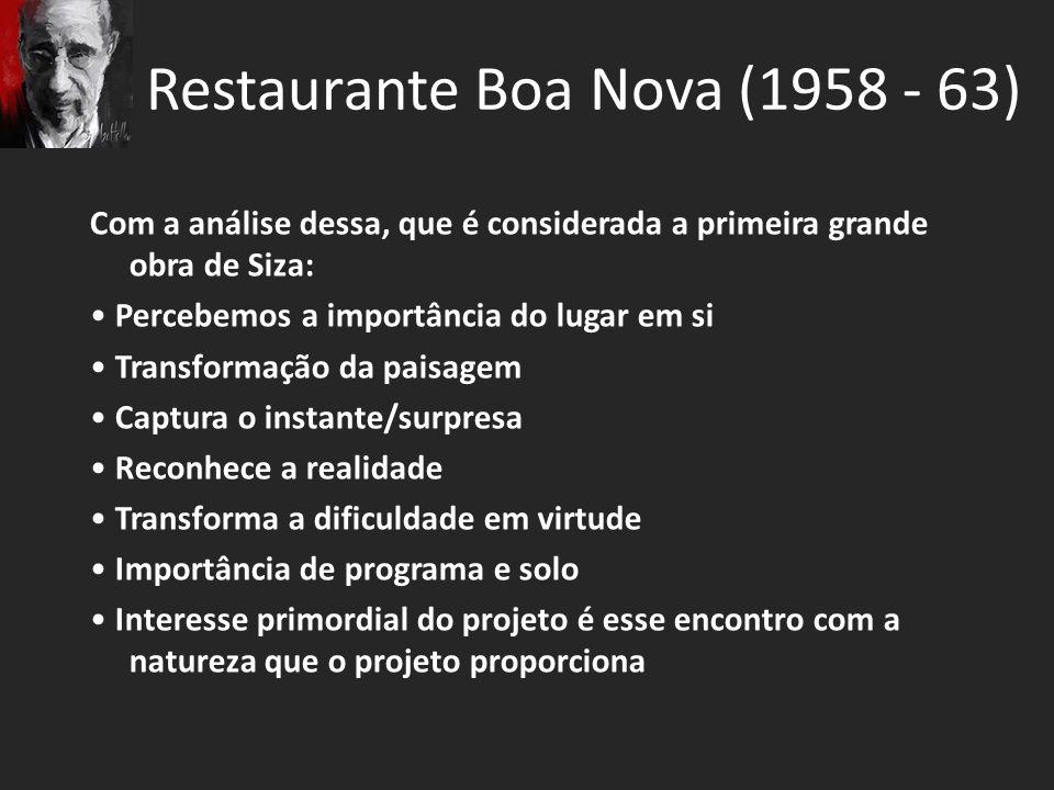 Restaurante Boa Nova (1958 - 63) Com a análise dessa, que é considerada a primeira grande obra de Siza: Percebemos a importância do lugar em si Transf