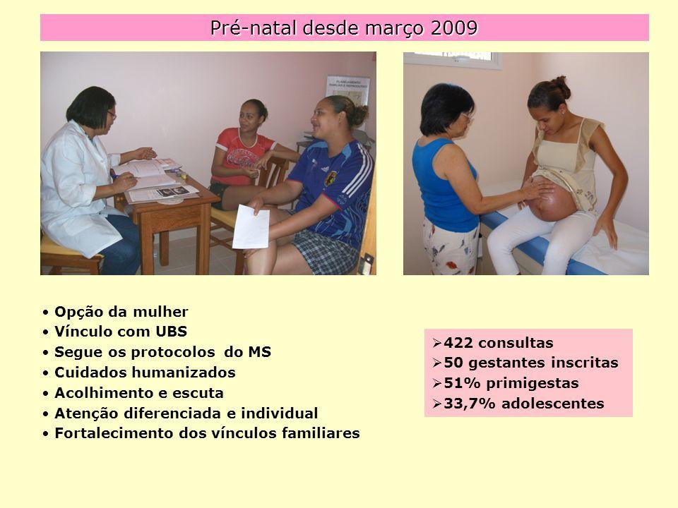 Pré-natal desde março 2009 Opção da mulher Vínculo com UBS Segue os protocolos do MS Cuidados humanizados Acolhimento e escuta Atenção diferenciada e