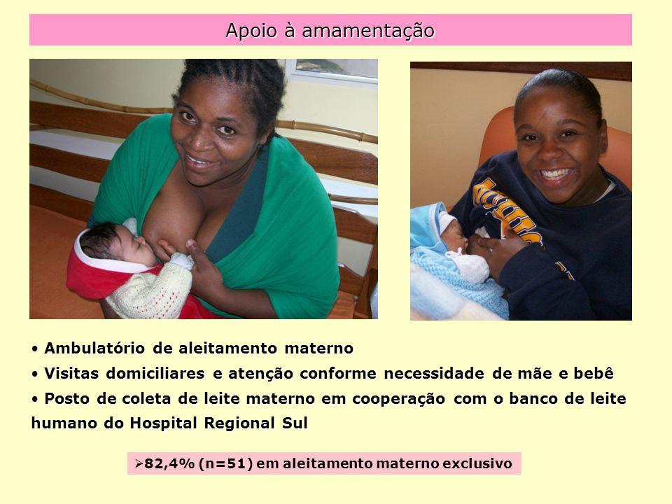 Apoio à amamentação Ambulatório de aleitamento materno Ambulatório de aleitamento materno Visitas domiciliares e atenção conforme necessidade de mãe e