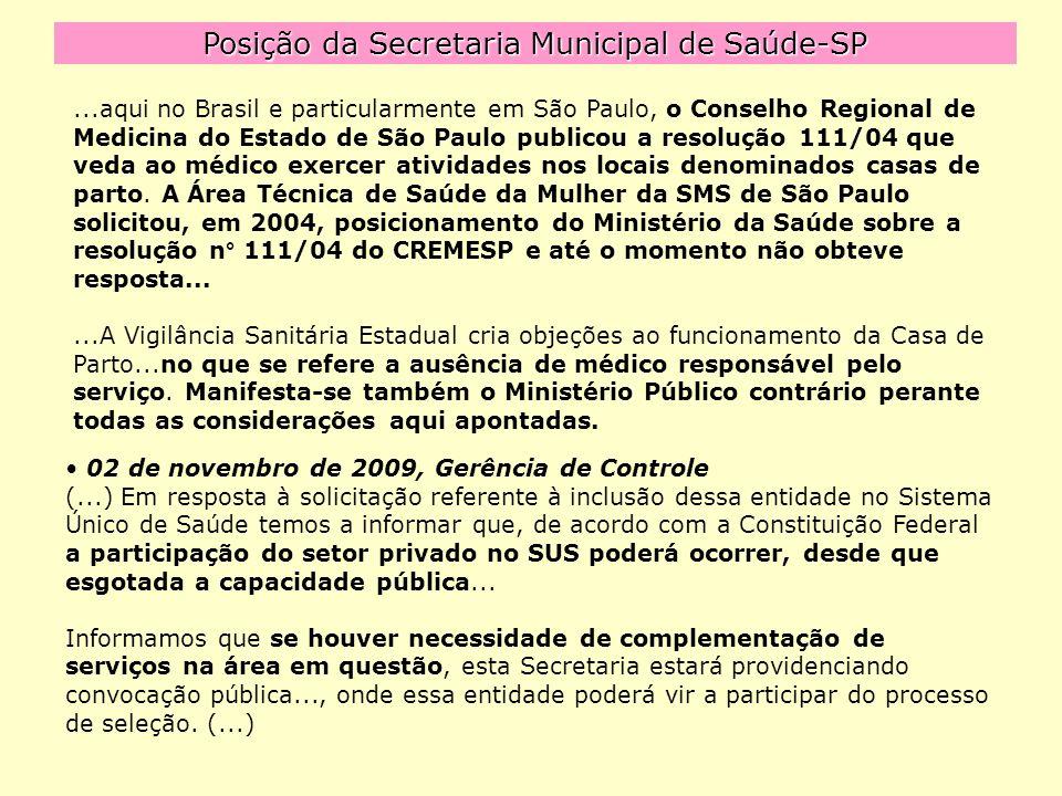 Posição da Secretaria Municipal de Saúde-SP...aqui no Brasil e particularmente em São Paulo, o Conselho Regional de Medicina do Estado de São Paulo publicou a resolução 111/04 que veda ao médico exercer atividades nos locais denominados casas de parto.