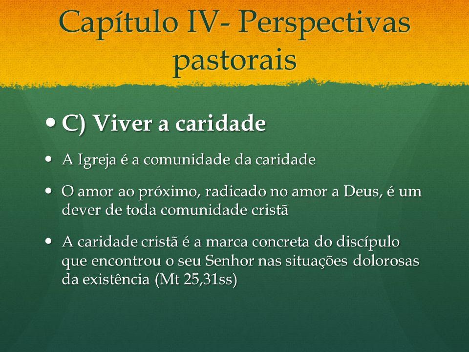 Capítulo IV- Perspectivas pastorais C) Viver a caridade C) Viver a caridade A Igreja é a comunidade da caridade A Igreja é a comunidade da caridade O