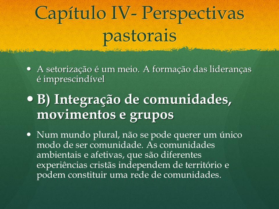 Capítulo IV- Perspectivas pastorais A setorização é um meio. A formação das lideranças é imprescindível A setorização é um meio. A formação das lidera