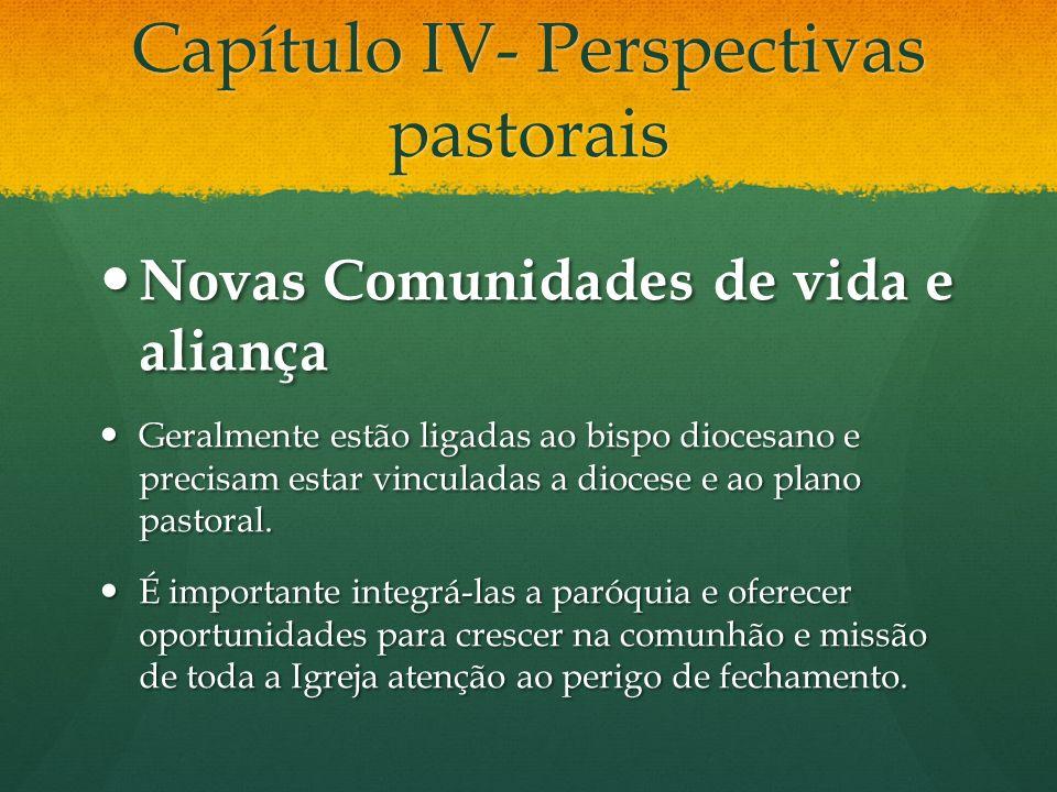 Capítulo IV- Perspectivas pastorais Novas Comunidades de vida e aliança Novas Comunidades de vida e aliança Geralmente estão ligadas ao bispo diocesan