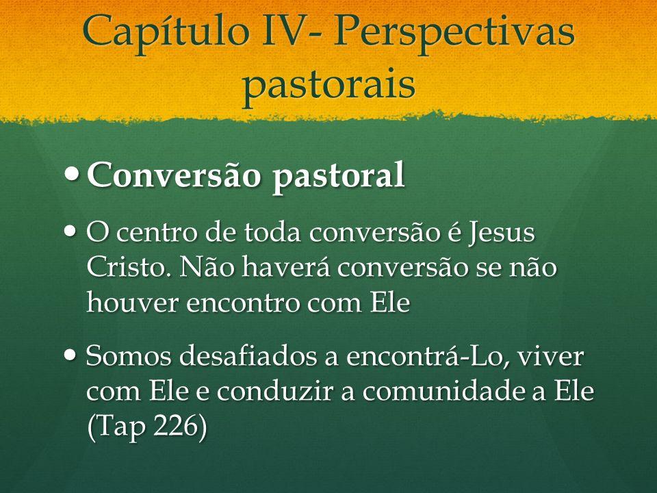 Capítulo IV- Perspectivas pastorais Conversão pastoral Conversão pastoral O centro de toda conversão é Jesus Cristo. Não haverá conversão se não houve