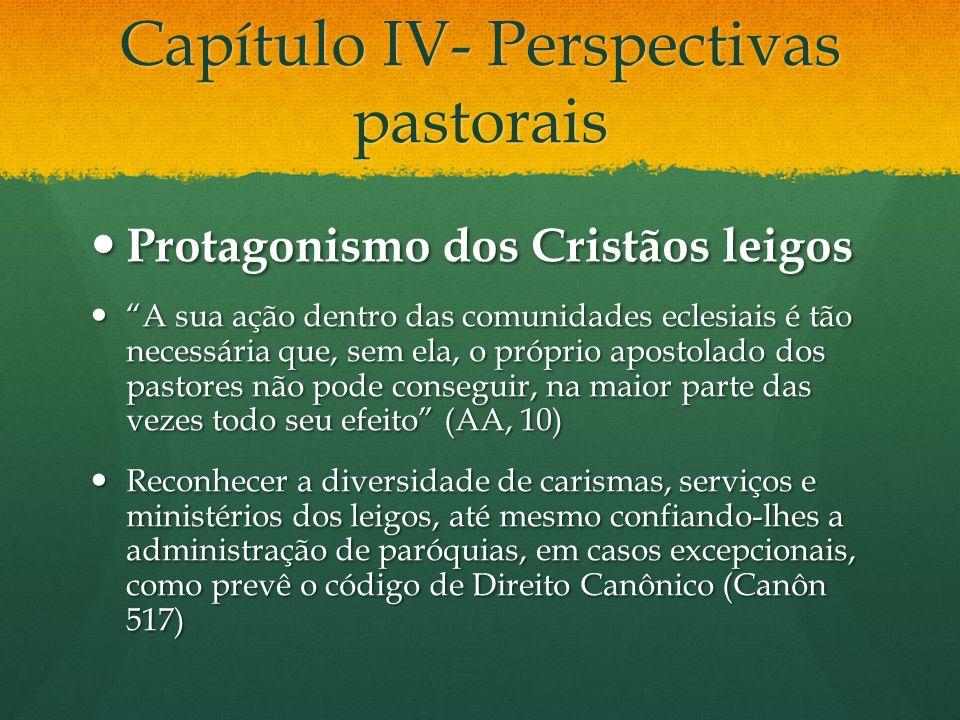 Capítulo IV- Perspectivas pastorais Protagonismo dos Cristãos leigos Protagonismo dos Cristãos leigos A sua ação dentro das comunidades eclesiais é tã