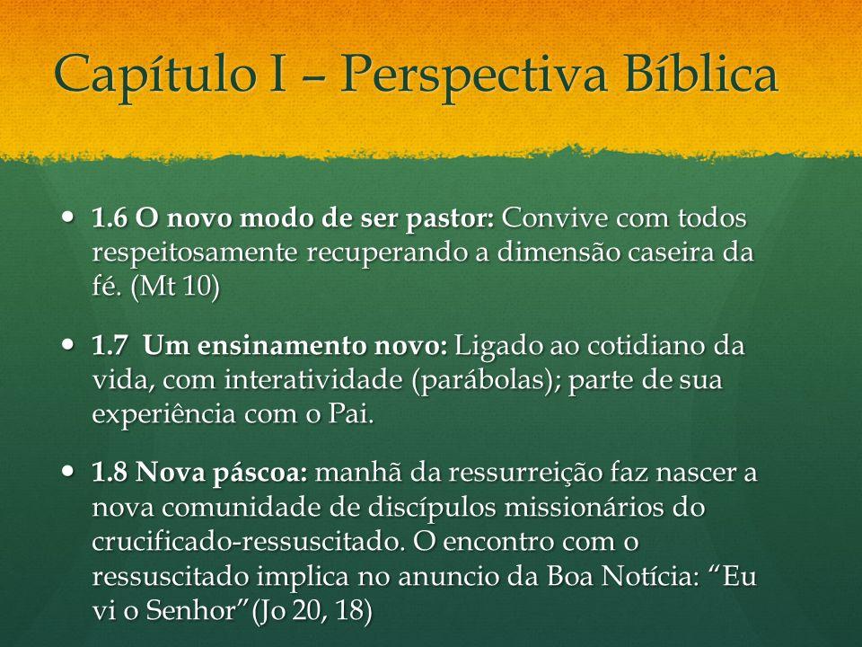 Capítulo I – Perspectiva Bíblica 1.6 O novo modo de ser pastor: Convive com todos respeitosamente recuperando a dimensão caseira da fé. (Mt 10) 1.6 O