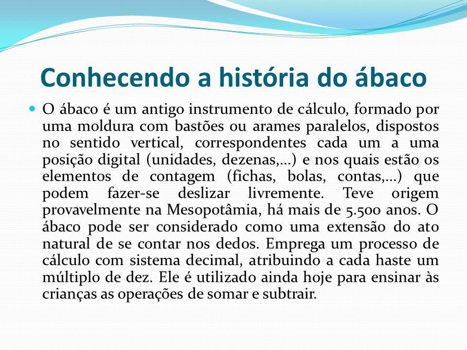 Conhecendo a história do ábaco O ábaco é um antigo instrumento de cálculo, formado por uma moldura com bastões ou arames paralelos, dispostos no senti