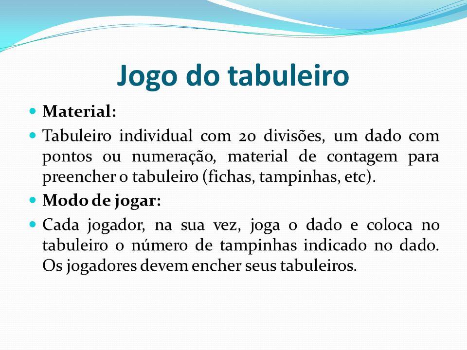 Jogo do tabuleiro Material: Tabuleiro individual com 20 divisões, um dado com pontos ou numeração, material de contagem para preencher o tabuleiro (fi