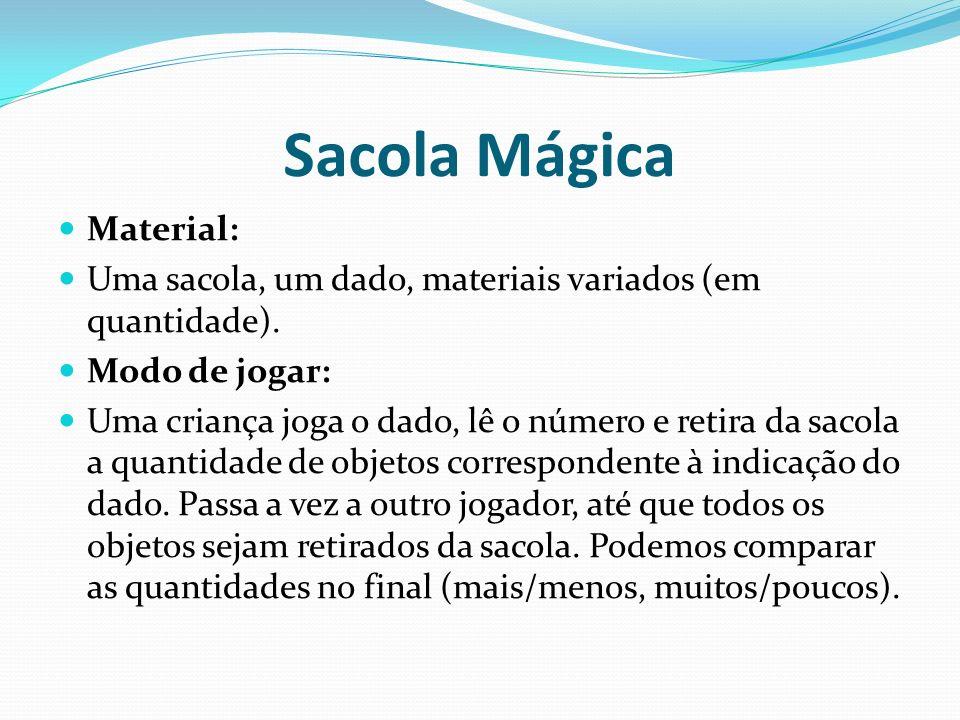 Sacola Mágica Material: Uma sacola, um dado, materiais variados (em quantidade). Modo de jogar: Uma criança joga o dado, lê o número e retira da sacol