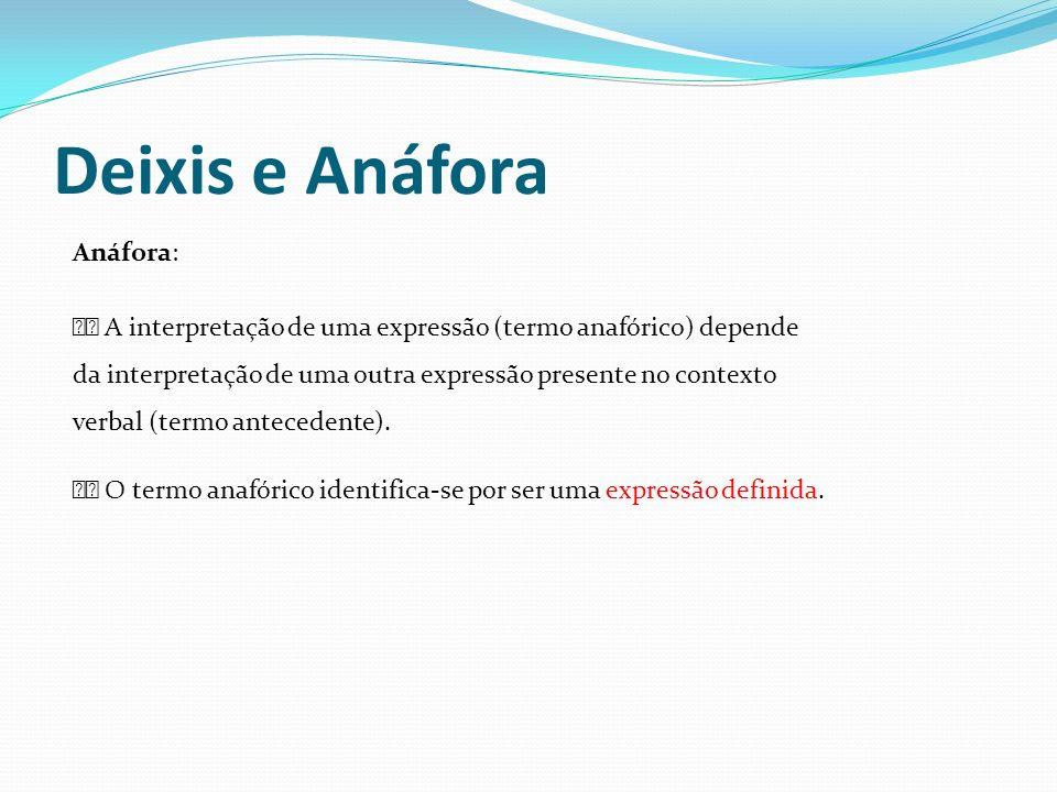 Deixis e Anáfora Anáfora: A interpretação de uma expressão (termo anafórico) depende da interpretação de uma outra expressão presente no contexto verb