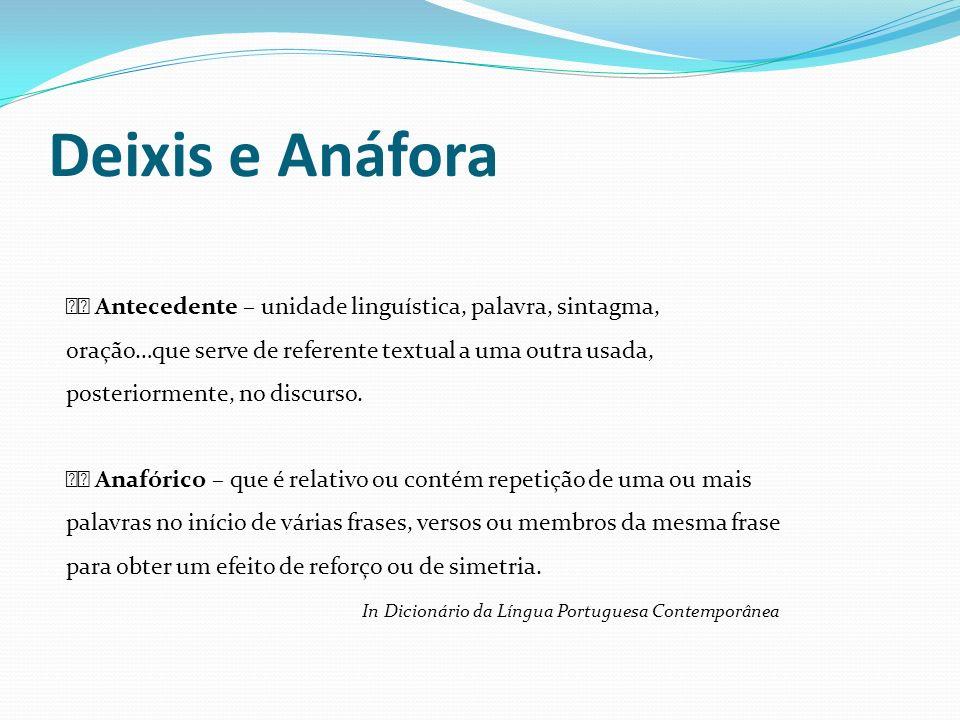 Deixis e Anáfora Antecedente – unidade linguística, palavra, sintagma, oração…que serve de referente textual a uma outra usada, posteriormente, no dis